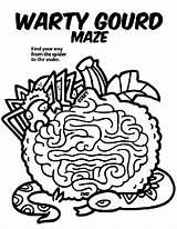 Maze Gourd Coloring Warty Halloween Crayola Mazes Printable Gourds Template sketch template