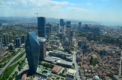 Aerial View Of The City Downtown And Skyscrapers From ...