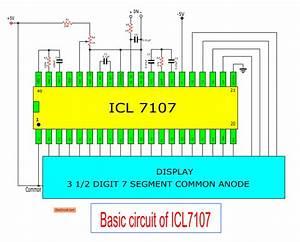 Digital Voltmeter Circuit Diagram Using Icl7107    7106 With Pcb