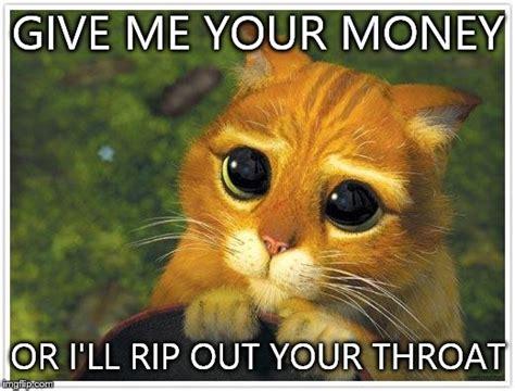 Give Me Money Meme - shrek cat meme imgflip