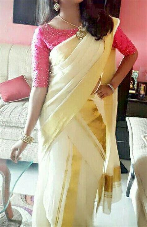 #Kerala saree #onam# boat neck blouse | Kerala saree