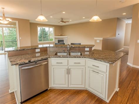 kitchen with two islands the gale home plan vancouver wa evergreen homes