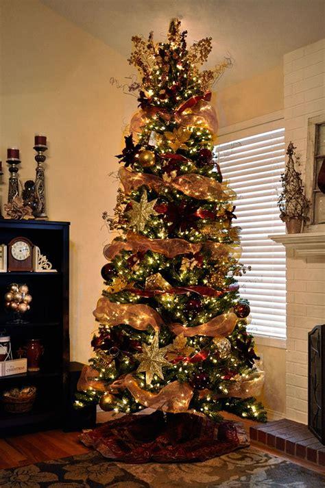 decorated christmas trees mesh ribbon garland christmas
