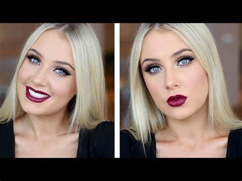 doll eyes  dark plum lips tutorial youtube