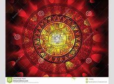 Maya Calendar On A End Of Days Background Stock
