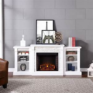 Southern, Enterprises, Nassau, 71, 75, In, W, Faux, Stone, Electric, Fireplace, With, Bookcases, In, White
