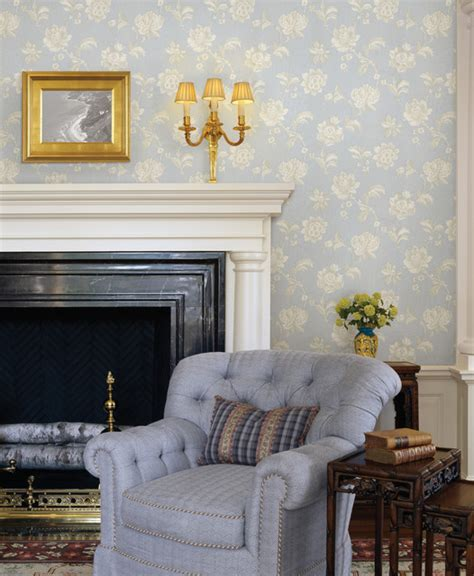 blue wallpaper traditional living room  metro