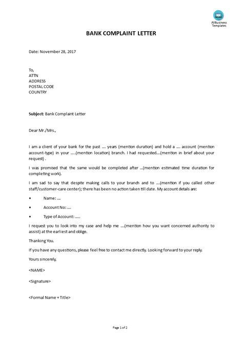 bank complaint letter templates  allbusinesstemplatescom