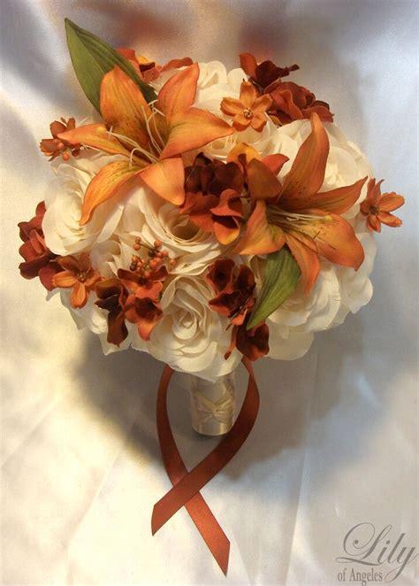 17pcs Wedding Bridal Bouquet Flowers Bride Silk Dusty