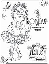 Nancy Fancy Coloring Pages Disney Activity Junior Printable Sheet Printables Clancy Sheets Bonjour Party Books Say Cartoon sketch template