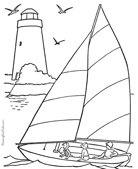 sail boat coloring book pages  coloring pages beach