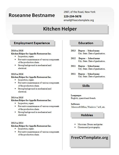 kitchen staff free cv template dot org