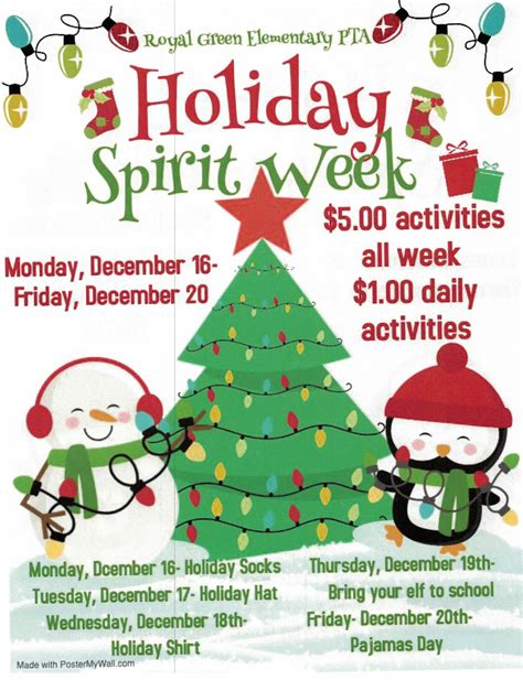 It is the day of lord jesus birth celebration on december 25th every year. Holiday Spirit Week - Royal Green Elementary