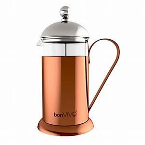 French Press Kaffeepulver : bonvivo gazetaro ii design kaffeebereiter und french press in kupfer chrom optik aus edelstahl ~ Orissabook.com Haus und Dekorationen