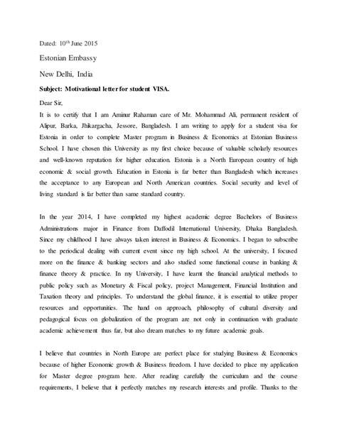motivational letter for student VISA