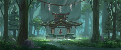 wallpaper hakurei reimu shrine forest nature touhou