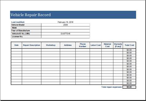 vehicle repair log template  ms excel excel templates