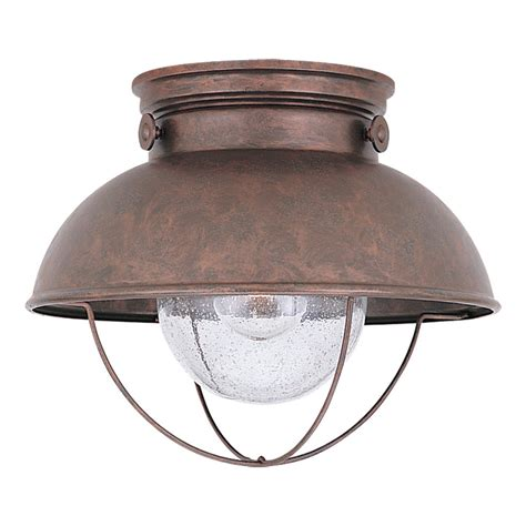 outdoor flush mount ceiling light fixtures shop sea gull lighting sebring 11 25 in w weathered copper