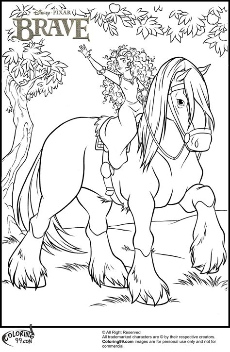 disney princess merida coloring pages team colors