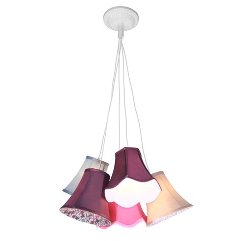 pendant light tiered 9 and 5 multi coloured shades ceiling
