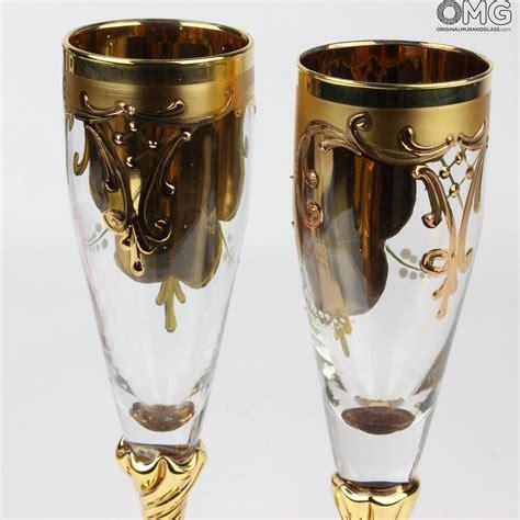 murano bicchieri set di 2 bicchieri tre fuochi flute cristallo you me