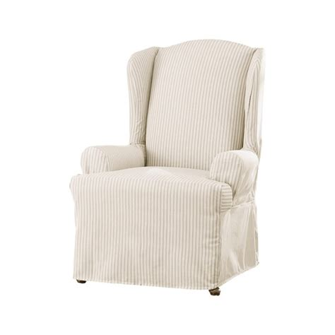 oversized wingback chair slipcovers sure fit ticking stripe wing chair slipcover 17415874