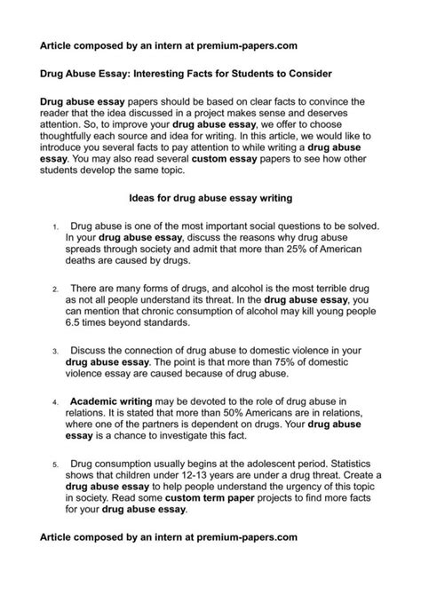 essay  teen drug abuse  essays