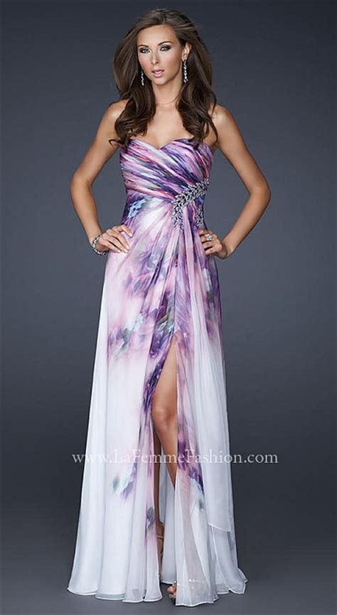 la femme stunning lavender print prom dress  french
