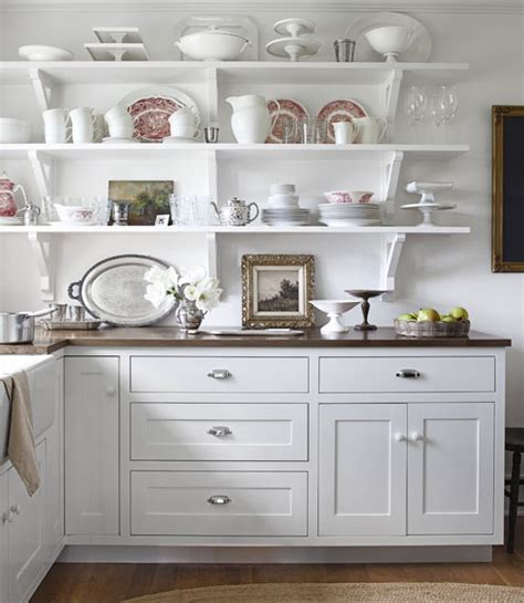 kitchen open cabinets a white in a country farmhouse Farmhouse
