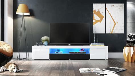 Meuble Tv Moderne Laqué Blanc Et Noir 200 Cm Avec Led Pour