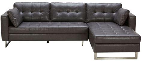 grey leather chaise sofa wilson ash grey leather sofa chaise 100834 sunpan modern