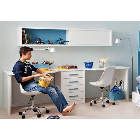 marque chambre bébé bureau pour 2 enfants avec caisson et étagère asoral
