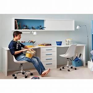 Etagere Pour Bureau : bureau double pour 2 enfants avec caisson et tag re asoral ~ Teatrodelosmanantiales.com Idées de Décoration