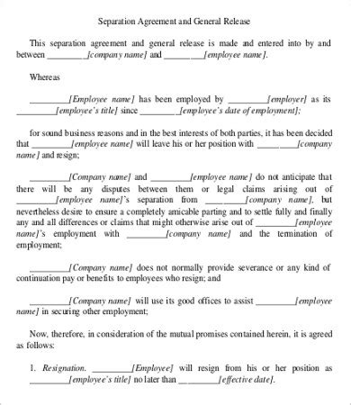 simple employment separation agreement templates word