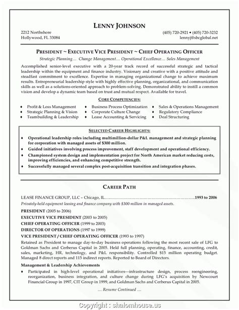 Resume Template For Senior Management by Top Resume Format For Senior Management Position Senior