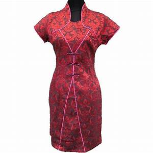 robe chinoise courte rouge bordeaux coton With robe chinoise rouge