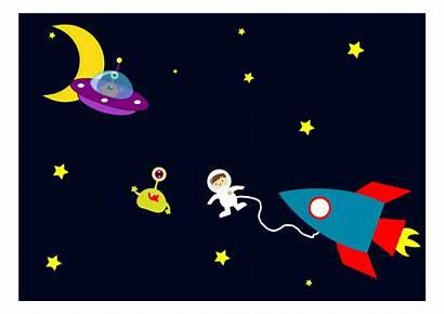 Space Astronaut Aliens Clipart Encounters Cartoon Rocket