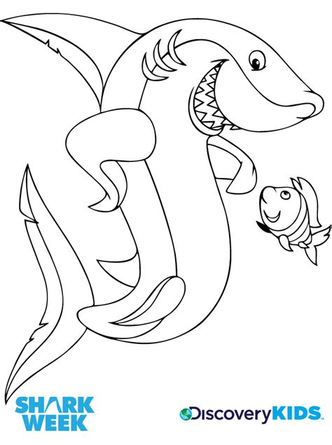 Shark & Friend Coloring Page Discovery Kids