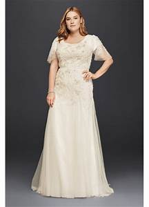 plus size modest wedding dress with floral lace davids With modest plus size wedding dresses