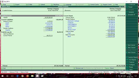 detailed balance sheet  pl tdl  tally erp