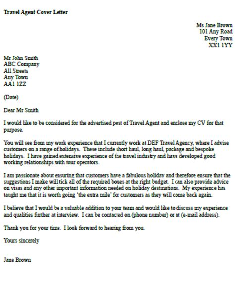sample cover letter of travel agent
