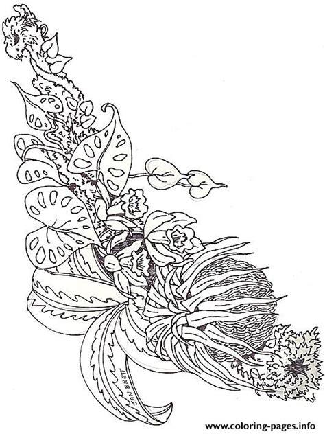 umbrella mural coloring horizontal bromeliad  jan brett