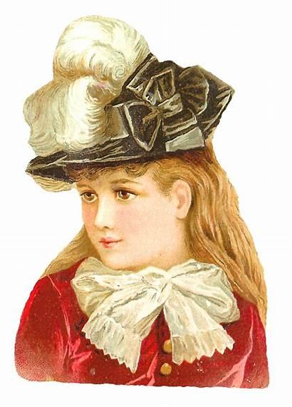 Victorian Hat Clip Feather Antique Portrait Stylish