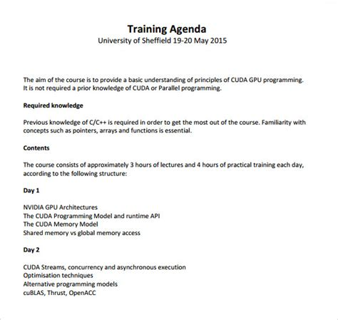 training agenda samples  word sample templates