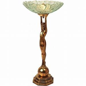 Art deco lady table lamp in heavy cast brass with bowl for Art deco lady floor lamp