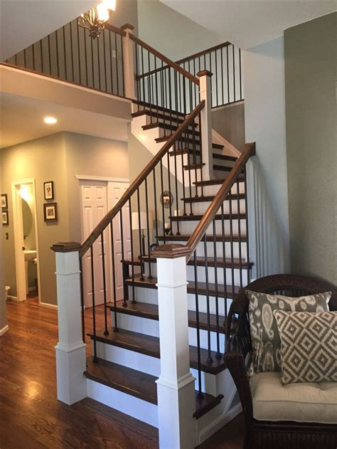 modern farmhouse staircase makeover steps red oak