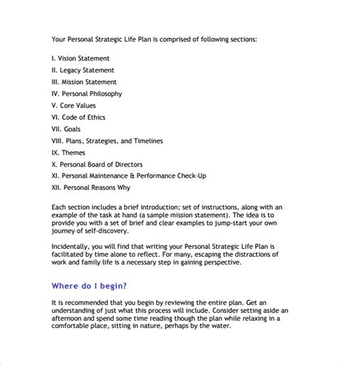 sample life plan template   documents