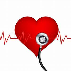Illustration of healthy heart with stethoscope on white ...