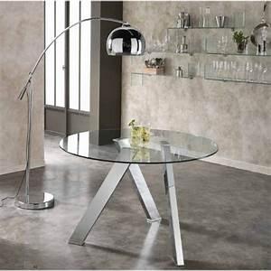 Plateau De Table En Verre : table ronde avec plateau de verre salon ~ Teatrodelosmanantiales.com Idées de Décoration