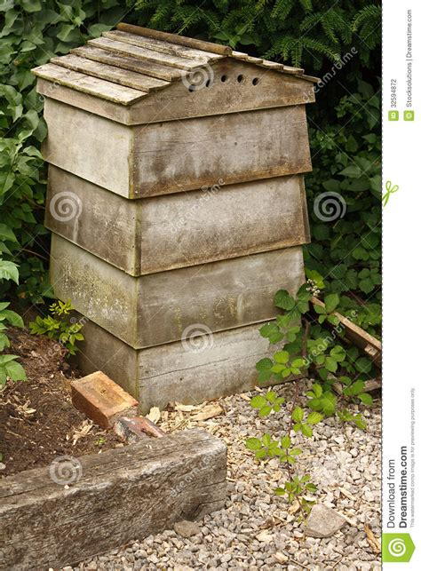 traditional stacking beehive stock photo image